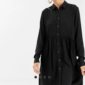 STRADIVARIUS black button down dress